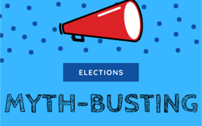 "Blue image with red megaphone. Text on image says ""elections myth-busting"""