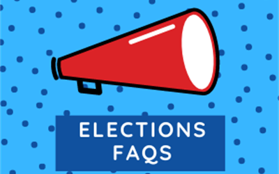 "Blue image with red megaphone. Text on image says ""Elections FAQs"""