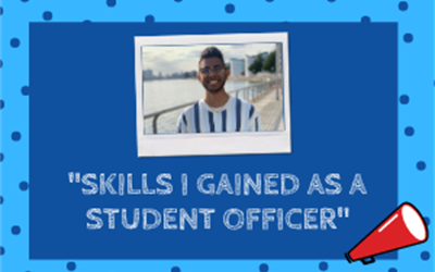 "Polaroid image of Naveen, former education officer. Text says ""skills I gained as student officer"""