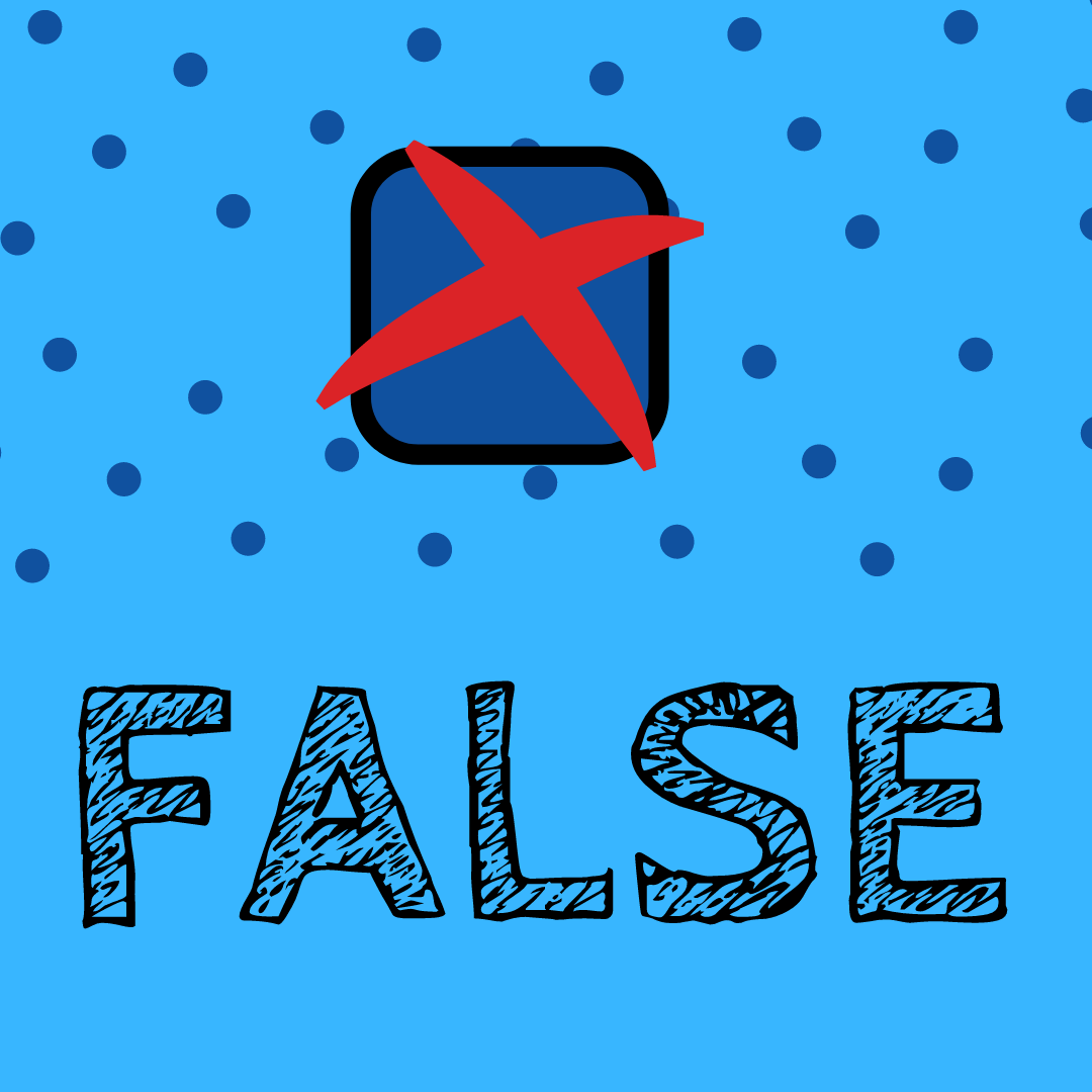 "Blue elections month branded image with a cross. Text says ""false"""