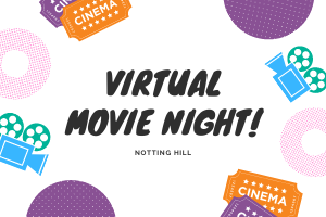 Virtual movie night graphic image with film projectors.